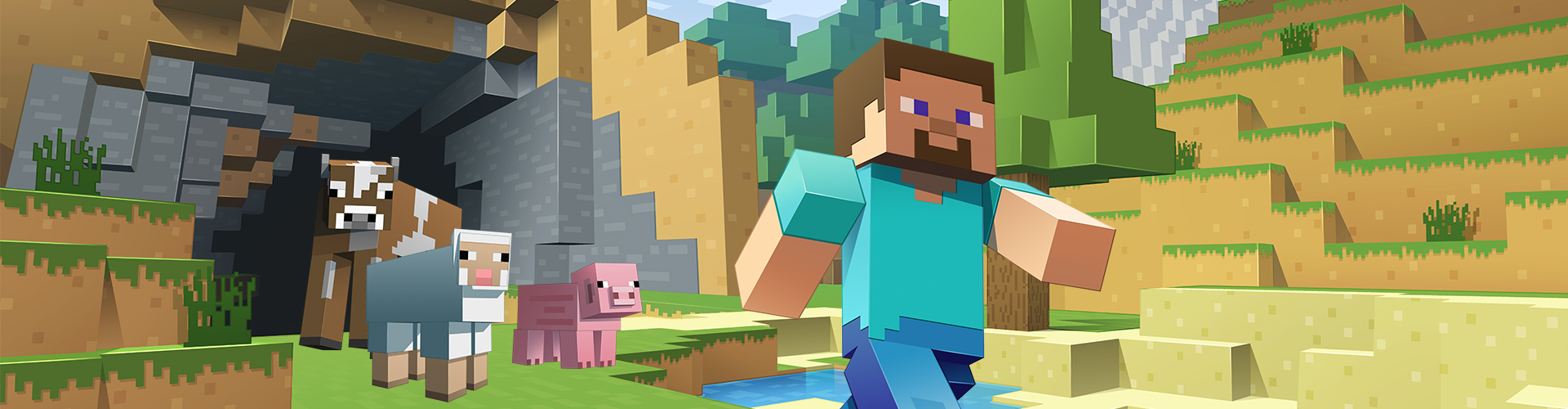 Minecraft game art illustration - Steve in a daytime scene with the cow, sheep, and pig behind him.