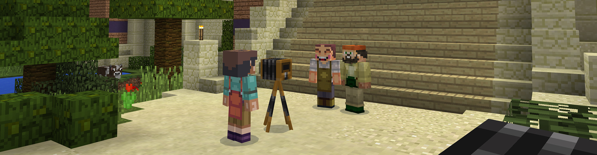 Minecraft game screenshot - characters using the camera taking a picture in a world setting.