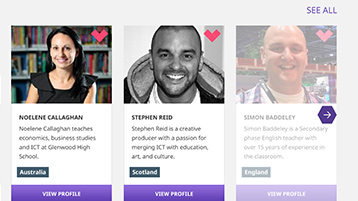 Site interface screenshot: user profile tiles, showing three educators & their information.