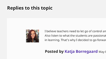 Site interface screenshot: discussion comment posted by an educator, with her profile picture displayed next to it.