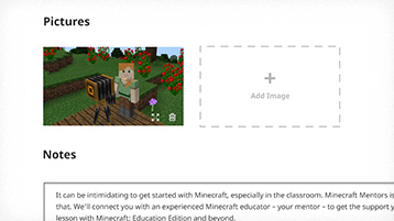 Site interface screenshot: picture thumbnails and notes on a lesson.