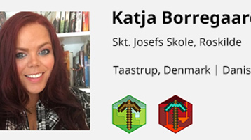Site interface screenshot: example educator profile with badges.